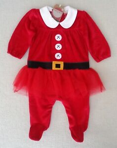 BNWT-NEXT-Baby-Girls-Red-Santa-Xmas-Tutu-Babygrow-Dress-Up-All-In-One-3-6-months