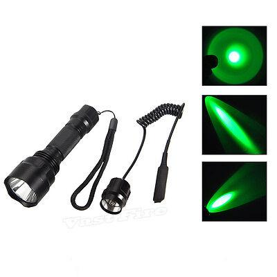 Tactical 4000Lm CREE Green Light LED Flashlight Torch Light Hunting Gun Rifle