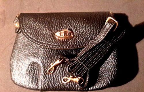 Women/'s Small Hand Bag or Strap Shoulder Satchel-Black 8 x 5 1//2-Details Below