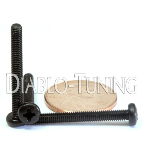 Qty 10 M3-0.5 x 25mm Phillips Pan Head Machine Screws DIN 7985 A Black Oxide