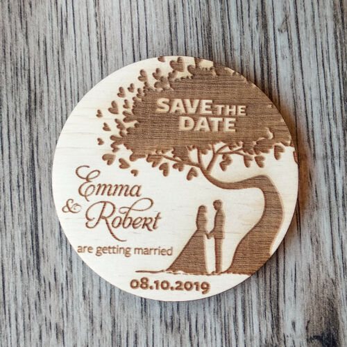 Personalized Rustic Wooden Tree Save the date magnets Wedding favors