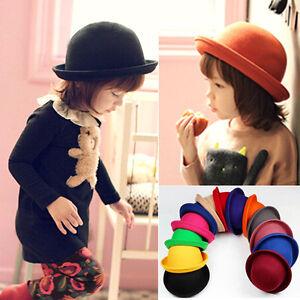 Fashion Kids Children Vintage Girl s Wool Felt Cute Trendy Bowler ... 140eb1bff78