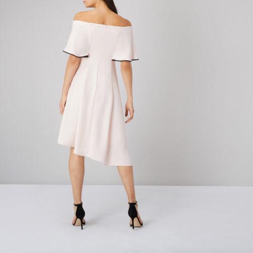 Shade Blush Peach Woven Coast Amory Dress Bardot Bias Hem tipped edge