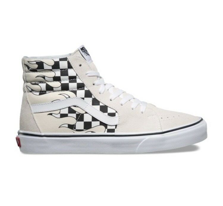 Vans Sk8 Hi Checker Flame Board Classic White Mens and Kids Size Checkerboard