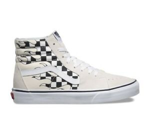 a656eecd5a Details about Vans Sk8 Hi Checker Flame Board Classic White Mens and Kids  Size Checkerboard