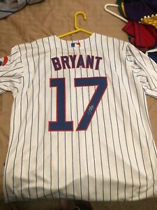 the best attitude 7a3ff 1f0c4 Details about Kris Bryant Medium Chicago Cubs Jersey signed in person  authentic in Las Vegas