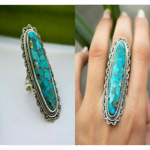 Women-Men-Big-Blue-Indian-style-Turquoise-Gemstone-Ring-Jewelry-Indian-Jewelry