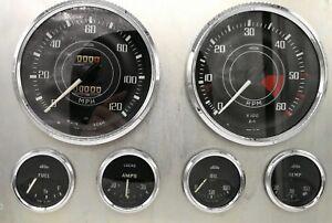 Triumph-Tr4-Tr4A-Jaeger-Lucas-Complete-Set-Speedo-Tacho-Fuel-Oil-Temp-Amps-Gauge