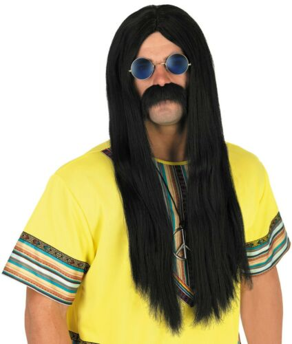 Mens 1970s  Black Long Hippie Wig for Adult 70s Hippy Fancy Dress Costume
