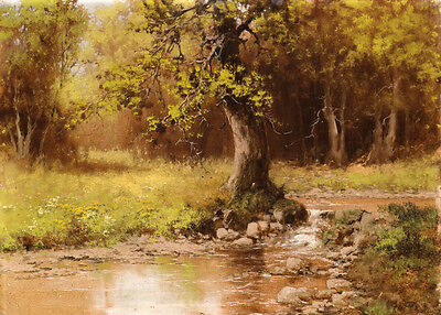 Exquisite Oil painting fine landscape with brook crossing the forest on canvas