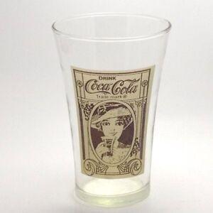 drink coca cola lady vintage drinking glass 16 oz excellent condition ebay. Black Bedroom Furniture Sets. Home Design Ideas