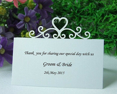 50laser cut heart name place decowedding sweets