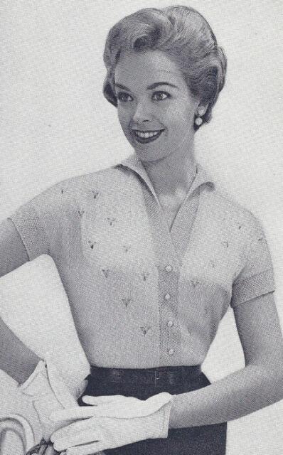 Vintage Knitting Pattern Knitted Eyelet Blouse Top Sweater Cardigan