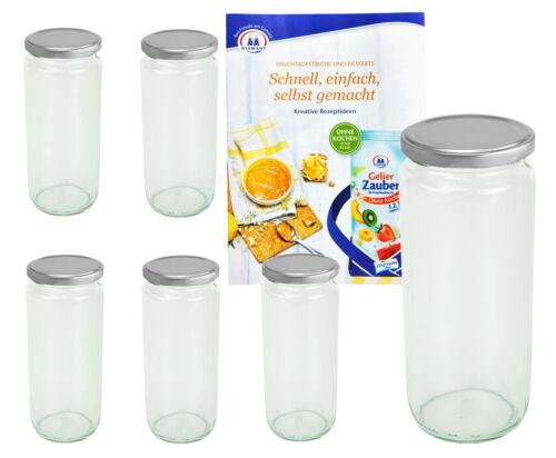 6 Rundgläser 580ml TO 66 Deckel silber Einmachgläser Einweckglas Einkochglas
