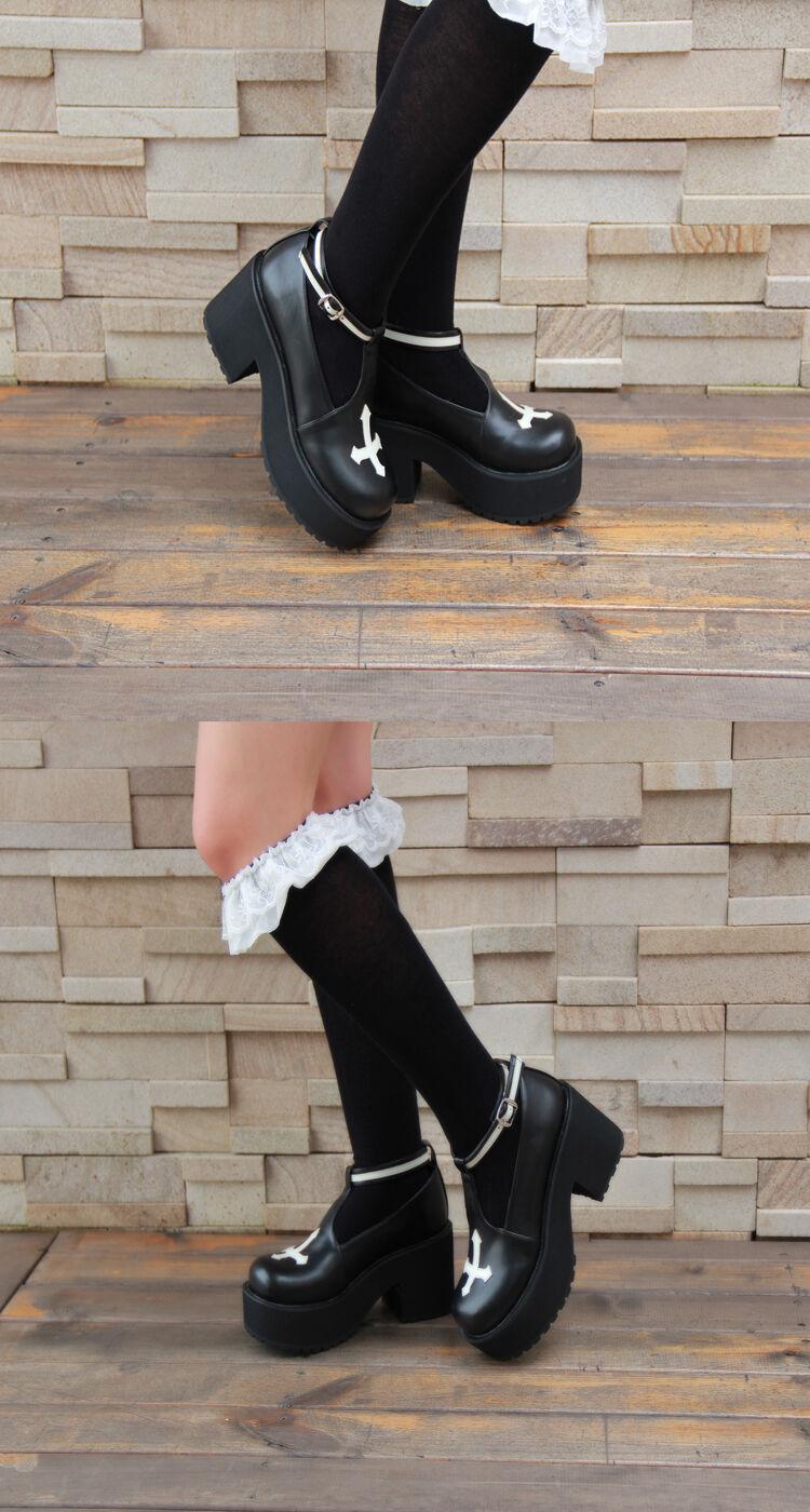 Schwarz Gothic Goth Punk Lolita Kreuz Cross Damen-schuhe Damen-schuhe Damen-schuhe Pumps Plateau Cosplay a132b4