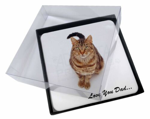 4x Brown Tabby Cat 'Love You Dad' Picture Table Coasters Set in Gift B, DAD158C