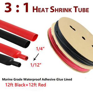 Waterproof Heat Shrink Tubing 3:1 Marine Grade Wire Cable Adhesive Lined 12 ft
