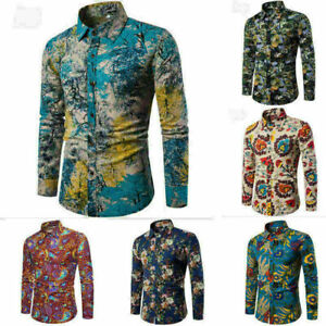 Men-s-Dress-Shirt-Dashiki-Hippie-Shirts-Slim-Fit-Blouse-Top-Hip-Hop-Casual-Shirt