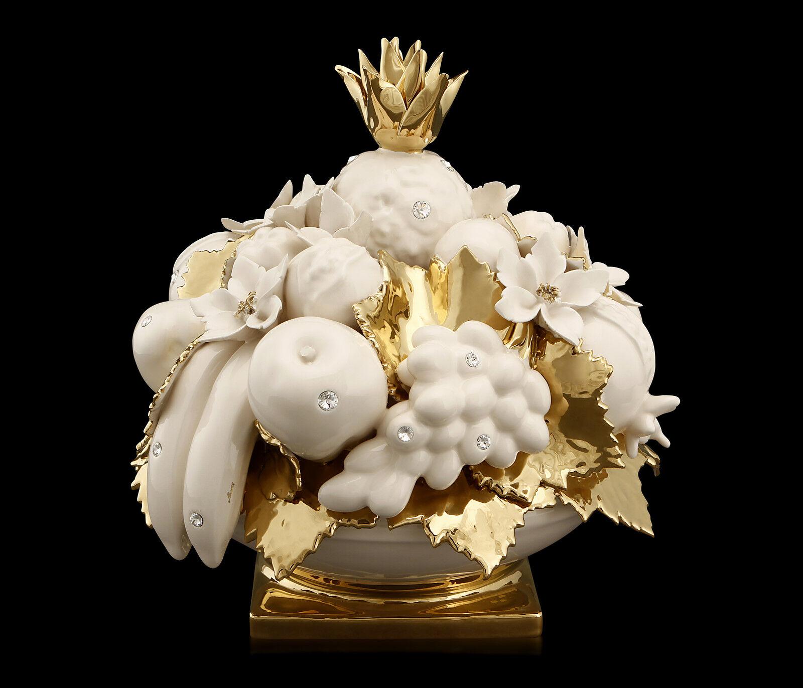 EXKLUSIV Fruchtschale aus Keramik Keramik Keramik und Gold mit Swarovski Kristallen e1a8f6