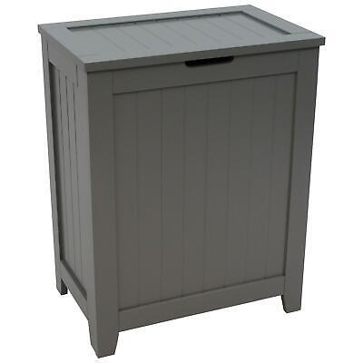 Wooden Laundry Hamper Lid Clothes Storage Bin Bathroom ...
