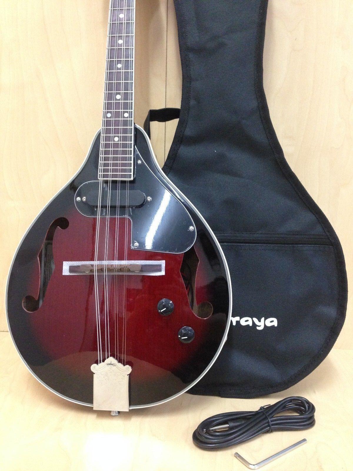 Caraya MA-005EQ A-Style Electric-Mandolin, Wine ROT Sunburst +Free Soft Gig Bag