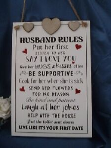 Rustic Shabby Chic Husband Rules Funny Sign Plaque | eBay