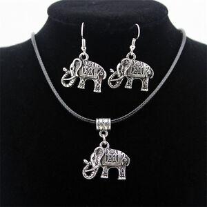 Vintage-Elephant-Jewelry-Set-Thai-Silver-Necklace-Hook-Earrings-Charm-Pendant