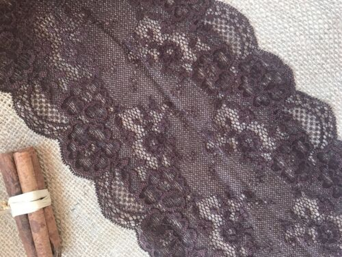 "Rich Chocolate Brown Stretch Lace Wide 7/""//18 cm Lingerie Craft Sew Table Runner"
