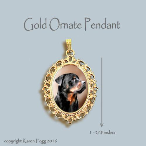 ROTTWEILER DOG ORNATE GOLD PENDANT NECKLACE
