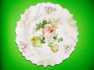 """Vintage Victorian Pink Roses Large Bowl Green Foliage Yellow Roses 10"""""""