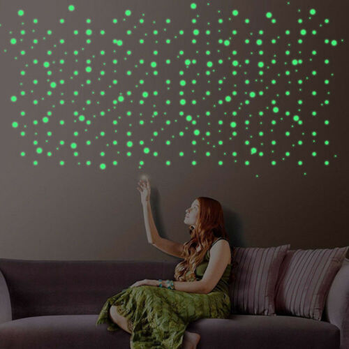 DIY 100Pcs Star 1 Moon Glow In The Dark Plastic Stickers Ceiling Wall Bedroom*