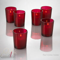 Set of 12 Red Glass Votive Candle Holders