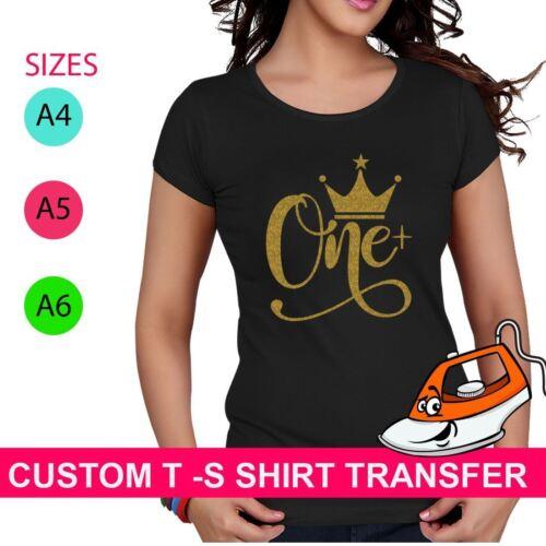 Crown One Print T Shirt Crew Iron On Fabric Heat Transfer Hen Party Top Custom