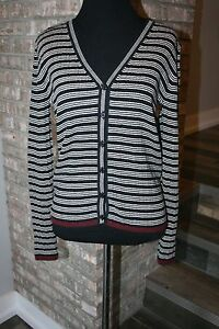 8e8fa7a08c Image is loading The-Limited-Womens-Black-Ivory-Red-Striped-Cardigan-