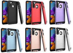 Para-Samsung-Galaxy-A21-S215DL-A215W-A215U1-Metalico-Delgado-Funda-hibrida-de-cepillo