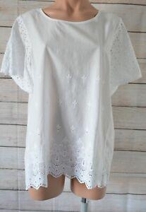 Regatta-Tunic-Top-Blouse-Size-14-White-Broderie-Anglaise-Cotton
