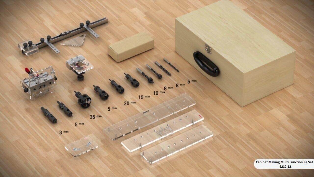 Cabinet Making Multi Function Jigs Set for 18mm - Minifix, Rafix, Hinges, Handle