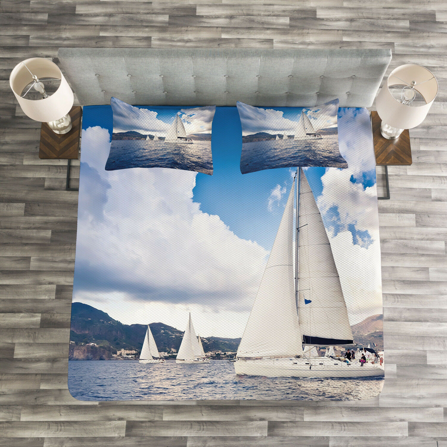 Nautical Quilted Bedspread & Pillow Shams Set, Sailing Boat on Sea Print