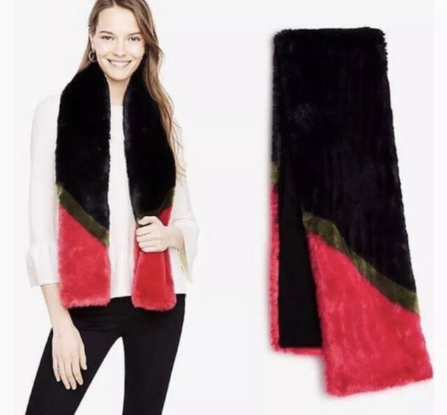 New With Tag ANN TAYLOR Faux Fur Black Pink And Dark Olive Long Colorblock Scarf
