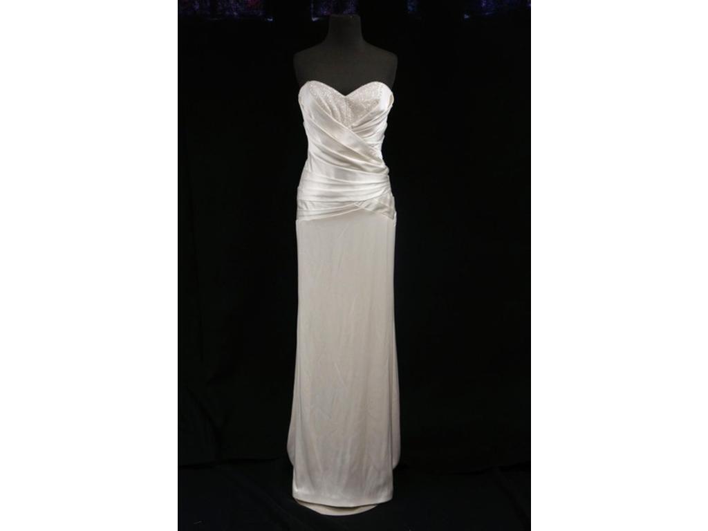 ,850 Nicole Miller Sleeveless Silk Sequin Bridal Satin Gown Wedding Dress SZ 4