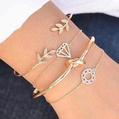 4pcs//set New Fashion Women Dreamcatcher Leaves Knot Bangle Chain Cuff Bracelets
