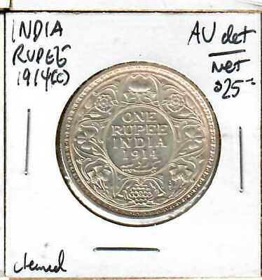 Coins & Paper Money Brilliant India Rupee 1914-c Au Details