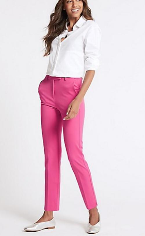 BNWT Femmes m/&s collection Gamme Lin Riche Rouille Couleur Pantalon Taille 18 regul