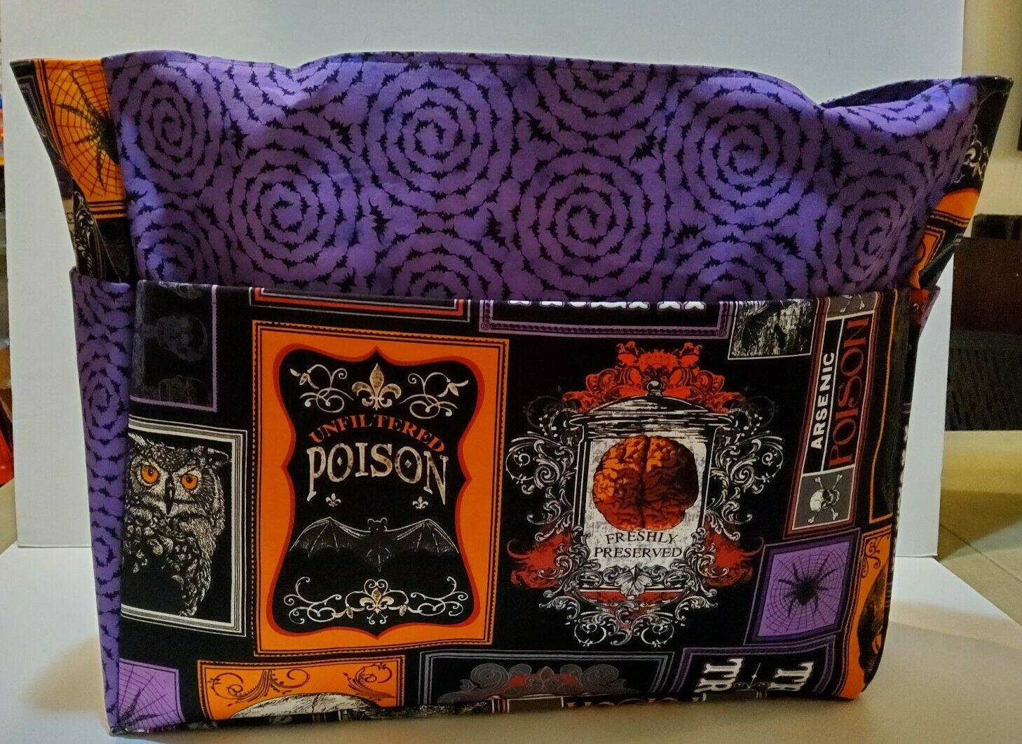 spider skeleton poison halloween trick treat xl purse/project bag handmade 15x18