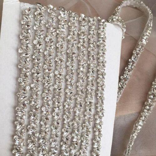 Thin Rhinestone Crystal Appique Trim For Wedding Belt Bridesmaid Bridal Sash