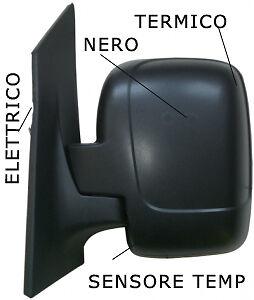 SPECCHIO SPECCHIETTO RETROVISORE DX PEUGEOT EXPERT ELETT NERO 2007 INPOI TERMICO