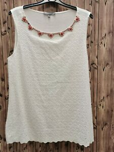 Laura-Ashley-ladies-woven-white-top-blouse-sleeveless-viscose-cotton-size-14