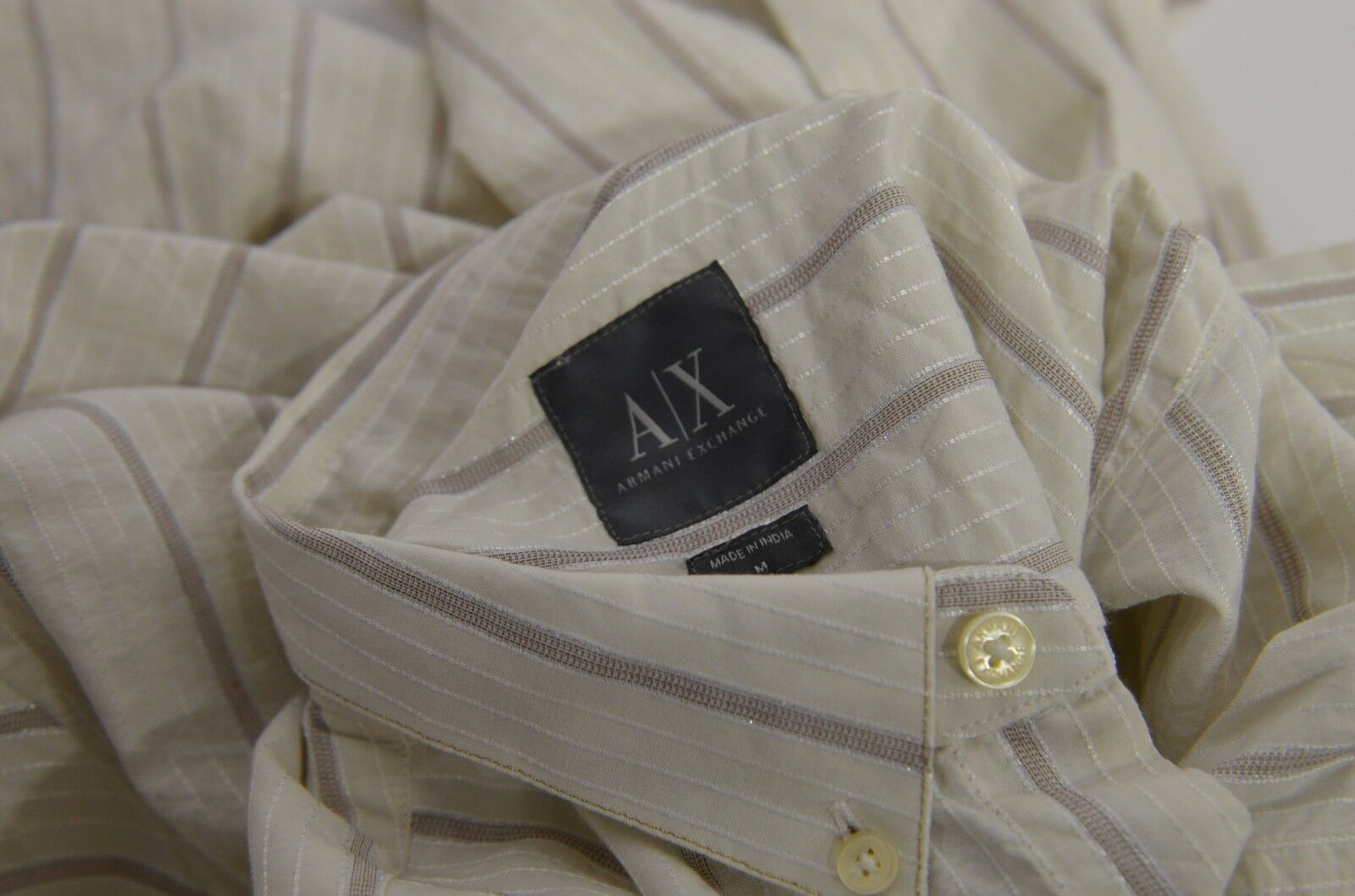 NWT Armani Exchange Sz M Long Off Sleeve Button Shirt Striped Off Long bianca Pearl Shimme 013bc3