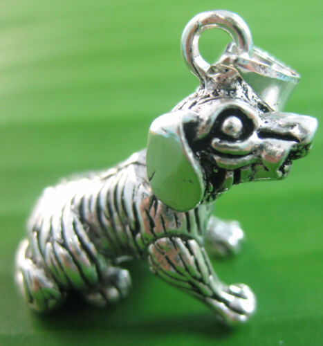 NEW 925 sterling silver PLAIN oxidise DOG movable body double sided 3D PENDANT