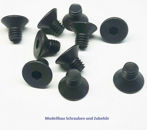 schwarz Stahl hochfest 10.9 DIN 7991 10 Stück Senkkopfschraube M3x6mm
